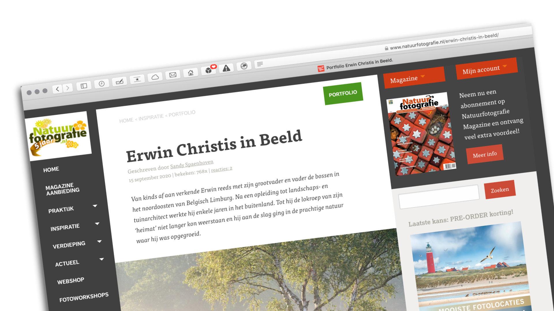 Screenshot van de website natuurfotografie.nl met een interview met mij en een portfolio